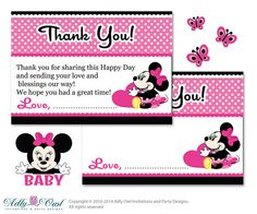 free printable minnie mouse thank you cards mickey minnie party