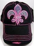 DivaByDzine - Pink Crystal Fleur De Lis Black Cap **AVAILABLE NOW**, $15.00 (http://www.divabydzine.com/pink-crystal-fleur-de-lis-black-cap-available-now/)