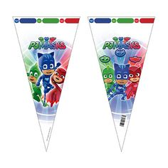 PJ Masks Designs Cone Shape Gift Bag Sold : Single Size: 38cm approx Material: Plastic Ideal for sweets and treats