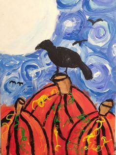 pumpkins with crow Van Gogh? 4th tints and shades