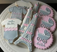 Decorated French Themed Baby Shower Cookies, onesies, eiffel tower, parisian bebe carriage