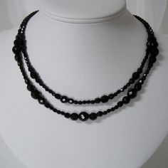 Downton Abbey Inspired Necklace double black glass crystal necklace!