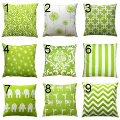 Decorative Pillows- Premier Prints Green Pillow Cover- All Sizes- Zippered Pillow- You Choose- Lime Cushion Cover- Pillow Case
