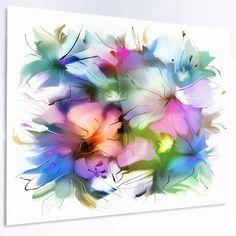 """DesignArt 'Watercolor Floral Bouquet' Painting Print on Metal Size: 12"""" H x 28"""" W x 1"""" D"""
