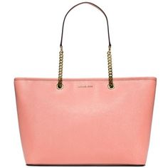 Michael Michael Kors Pale Pink Medium Jet Set Travel Tote ($298) ❤ liked on Polyvore featuring bags, handbags, tote bags, pale pink, white purse, white tote bag, handbags totes, tote bag purse and pocket tote