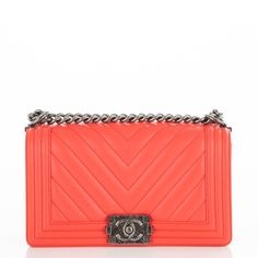 f3c380cdd811 CHANEL Calfskin Chevron Quilted Medium Boy Flap Coral ❤ liked on Polyvore  featuring bags, handbags, shoulder bags, orange purse, chanel purse, ...
