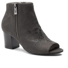 Andrew Geller Spinda Women's Peep Toe Ankle Boots ($60) ❤ liked on Polyvore featuring shoes, boots, ankle booties, dark grey, peep toe ankle bootie, peep-toe booties, open toe ankle boots, low booties and ankle boots