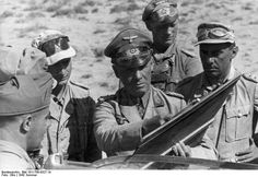 Erwin Rommel, Fritz Bayerlein, and other German and Italian officers in North Africa, summer 1942