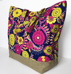 Floral Fabric Tote Bag Fabric Handbag by RavensMoonDesigns on Etsy