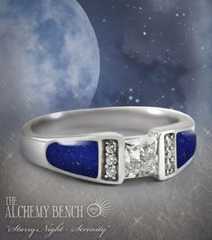 """Starry Night - Serenity"" Unique Blue Lapis and Princess-Cut Diamond Engagement Ring 