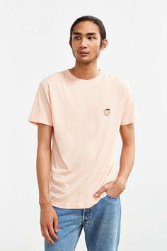 03fcecfef4 Embroidered Peach Tee - Urban Outfitters Cute Tops