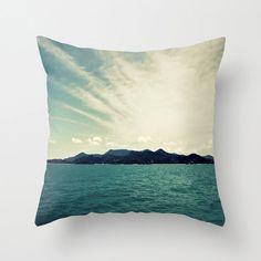 Pillow Cover, Nautical Island Print Surf Style Beach Decor Throw Pillow, Home Interior Accent, Teal Blue Aqua Marine, 16x16 18x18 20x20