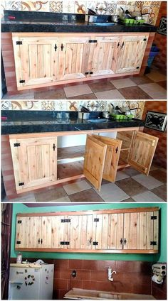 we are here with an idea to create the wooden pallet kitchen storage cabinets that are created with the pallets and they are not expensive Pallet Kitchen Cabinets, Kitchen Cabinet Storage, Diy Cabinets, Wooden Kitchen, Storage Cabinets, Rustic Cabinets, Cheap Furniture, Kitchen Furniture, Kitchen Interior
