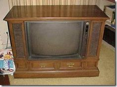 """This is what our TV would look like. My parents would make me sit next to it and be a human """"remote control"""" and turn the dial (luckily there were only 13 channels). Still expecting the brain cancer diagnosis any year now. My Childhood Memories, Great Memories, Fisher Price, Nostalgia, Back In My Day, My Generation, I Remember When, Ol Days, Old Tv"""
