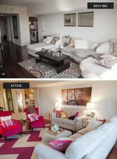 See the amazing before and after photos from this bachelorette pad makeover... [via www.thechicagolifeblog.com]  living room // pink room // girly apartment // home makeover // interior design // decor // home improvement  @Target @west elm @Robert ONeill @HomeGoods @IKEA @Cost Plus World Market @Florencia Carballo