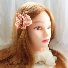 Barrette française 5 cm papillon satin saumon corps perles marron et blanche - Un grand marché Barrettes, Satin, Vaseline, Band, Accessories, France, Unique, Romantic Hairstyles, Beads