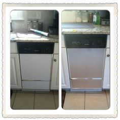 DIY project, transform old appliances to look like new stainless steel ones just by using this stainless steel contact paper sold at Home Depot or lowes for $10