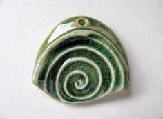 Green Path Pendant Stoneware Clay by TinasBeadMind on Etsy