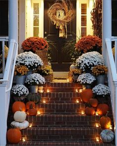 Fall Thanksgiving Halloween Autumn Decorating ideas outdoor front door interior design tablescapes table settings pumpkins flowers
