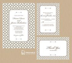 Stately Frame Wedding Invitation Set