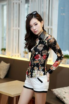 #Flower Print Lace #blouse PU Collar and Sleeve YRB0130
