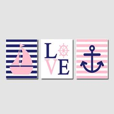 Nautical Hot Pink Navy Wall Art Sailboat Love by LovelyFaceDesigns