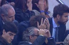 Carles Puyol se desesperó en el palco junto a Zubi y Piqué