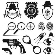 Buy Private Detective Set by alexdelmar on GraphicRiver. Detective Theme, Detective Agency, Police Stickers, Shark Silhouette, Big Brother Little Brother, Vintage Photo Frames, Make Money Today, Private Eye, Retro Videos