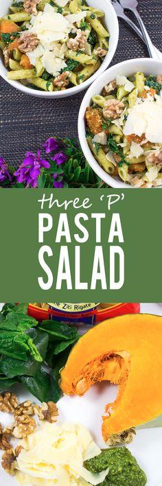 Three P Pasta Salad - Cumin infused roast PUMPKIN chunks, perfect PENNE pasta…