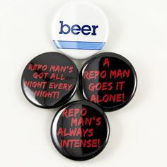 Repo Man Quotes and Beer Logo   Pinback Button 4 Styles to Choose From  80's cult classic awesomeness! #VHS #vhscollectors #bigmeanpunk #scifi #cult #repoman #harrydeanstanton