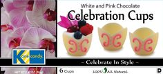 Kane Candy White & Pink Chocolate Celebration Cups. Chef Inspired Chocolates by Kane Candy.   www.KaneCandy.com