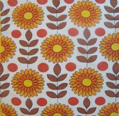 Vintage Sunflowers  Retro Fabric Remnant by lisajane3 on Etsy...nice design...maybe change colors