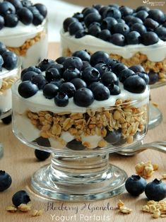 Easy Blueberry & Granola Yogurt Parfaits great for Breakfast or Snacks