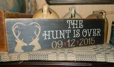 CUSTOM WEDDING THE HUNT IS OVER PRIMITIVE SIGN SIGNS Pallet Crafts, Pallet Art, Pallet Signs, Wooden Crafts, Diy Crafts, Primitive Signs, Primitive Crafts, Rustic Signs, Wooden Signs
