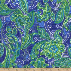 London Calling 4 Paisley Cotton Fabric - Blue by Beverlys.com