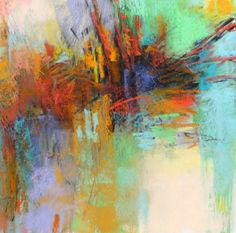 Green Abstraction in pastel, 12x12 inches by Debora L.Stewart available through Etsy