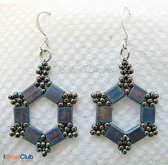The Bead Club video tutorial- Hexagon Earrings Take 2 using tila beads