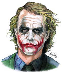 The Joker is a highly intelligent psychopath with a warped, sadistic sense of humor. Joker commits crimes with comedic weapons, that he pulls out of nowhere. Joker Heath, Le Joker Batman, Joker Y Harley Quinn, Gotham Batman, Batman Art, Batman Robin, Joker Sketch, Joker Drawings, Marvel Drawings