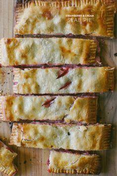 Strawberry & Cream Slab Pie  Read more - http://www.stylemepretty.com/living/2013/07/03/strawberry-cream-slab-pie/