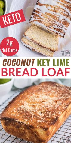 This easy to make key lime bread is moist and flavorful. It's a delicious flavor combination for a quick keto friendly coconut cake loaf. Low Carb Sweets, Low Carb Desserts, Healthy Dessert Recipes, Just Desserts, Snack Recipes, Snacks, Low Sugar Recipes, Almond Flour Recipes, Baking Recipes