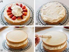 Strawberry Shortcake cake - Japanese version | Chopstick Chronicles Japanese Sponge Cake Recipe, Cakes Without Butter, Japanese Birthday, Sponge Cake Recipes, Cake Tins, Round Cakes, Buttercream Cake, Strawberry Shortcake, How To Make Cake