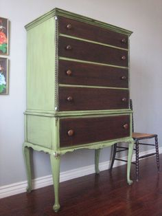 European Paint Finishes painted and refinished furniture. Weathered and distressed rustic green antique chest of drawers. ♥♥♥ (eclectic, shabby chic, french country cottage, baby nursery) Refurbished Furniture, Furniture Makeover, Furniture Decor, Painted Furniture, Furniture Refinishing, Antique Furniture, Green Chest Of Drawers, Queen Anne Furniture, Houses