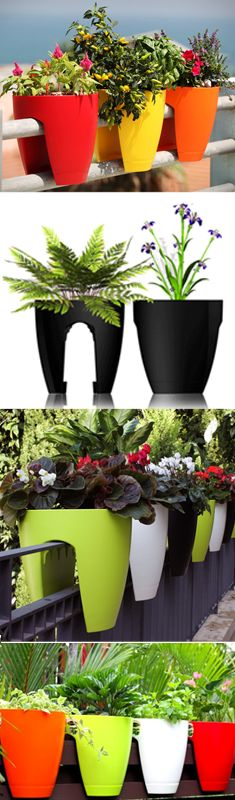 colorful railing planters for patio or balcony at urbilis.com