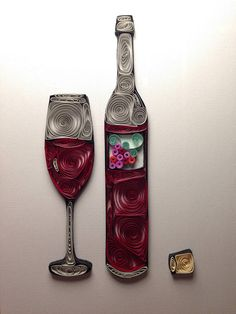 Quilling Wine Quilled Art Wine Bottle Framed 8x10