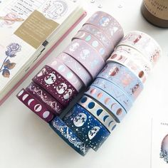 Shop for your planner accessories, exclusive washi tapes, greeting cards, traveler's notebook, cute stationery & more. Shop party favors and gifts with us! Washi Tape Crafts, Washi Tape Set, Diy Back To School, Too Cool For School, Lunar Magic, Cool School Supplies, Holographic Foil, Cute Planner, Kawaii