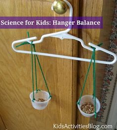 This is a fun science activity for graders to make their own scale and test it with the hanger to make sure it os even. It is a fun and easy way to teach students about science. Kid Science, Elementary Science, Science Lessons, Teaching Science, Science Projects, Summer Science, Physical Science, Science Centers, Stem Projects For Kids
