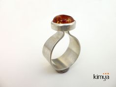 Silver ring with natural amber - product images  of Silver Chamber Jewellery #silverring #ring #silverjewellery #jewelry #jewellery #amber