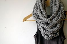 cowl, Scarf, Neck Warmer, Cowl, Infinity scarf, Circular Scarf (The Chain Warmer in Gray)