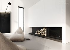 Single-family house interior design, Warsaw | TAMIZO ARCHITECTS BEAUTIFUL FIRE PLACE..