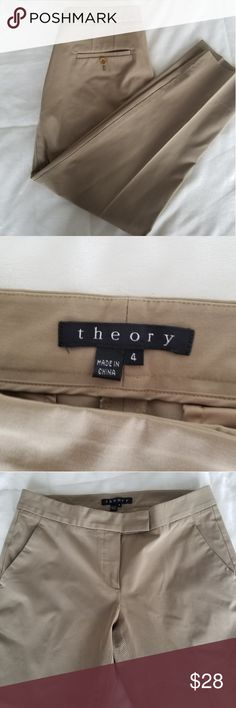 Theory ankle dress pants tan khaki size 4 Theory ankle dress pants in the color tan/tacky in size 4.   Great condition! Theory Pants Ankle & Cropped